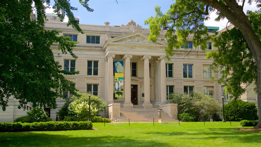 Iowa Museum of Natural History which includes an administrative buidling, heritage architecture and a park