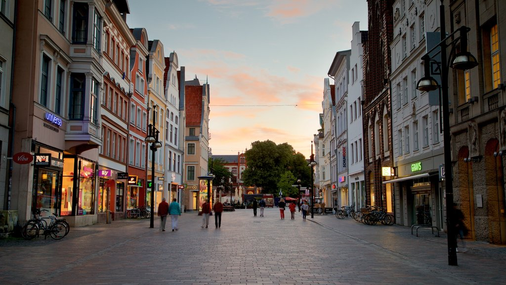 Rostock which includes a city, a sunset and street scenes