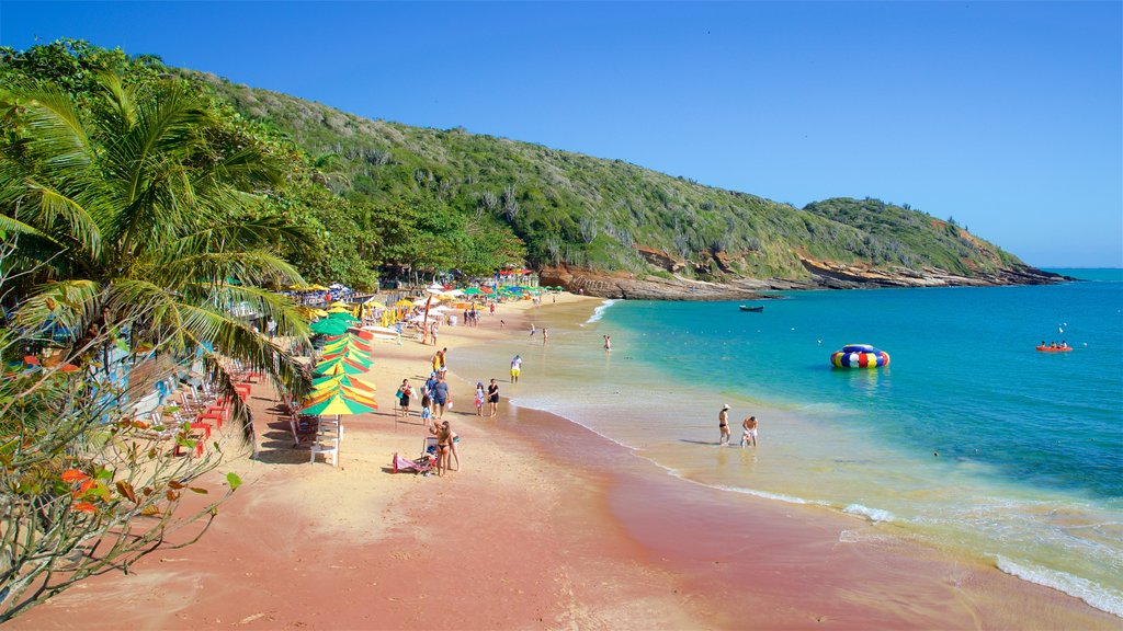 Joao Fernandes Beach which includes a sandy beach and general coastal views as well as a small group of people