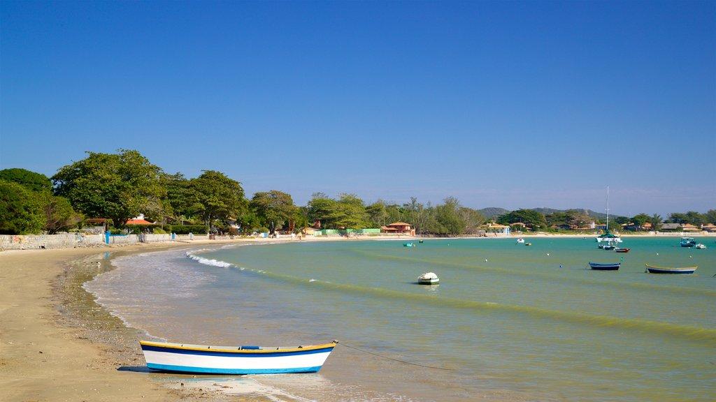 Manguinhos Beach which includes a beach, a bay or harbor and general coastal views
