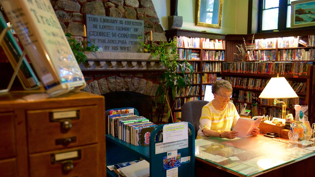 Ogunquit Memorial Library featuring interior views as well as an individual femail