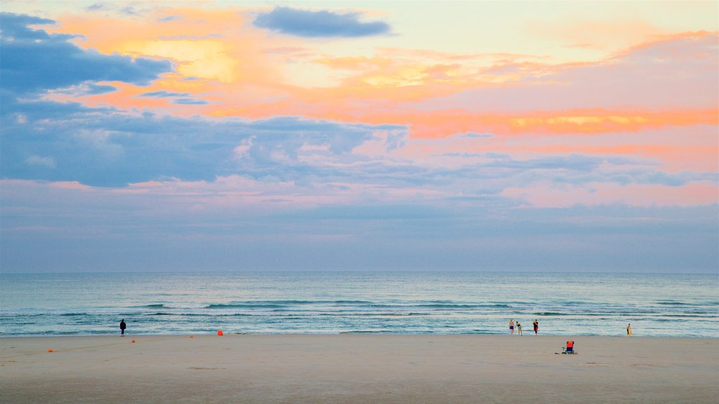 Ogunquit Beach featuring a sunset, a sandy beach and general coastal views