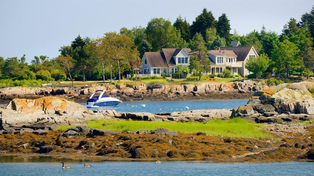 Bailey Island featuring rugged coastline and a house
