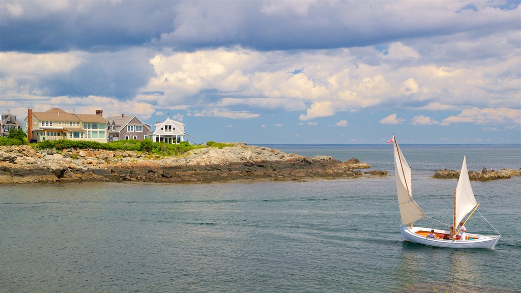 Ogunquit which includes general coastal views, sailing and rocky coastline