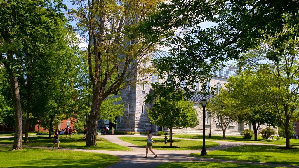 Bowdoin College featuring a garden as well as an individual femail
