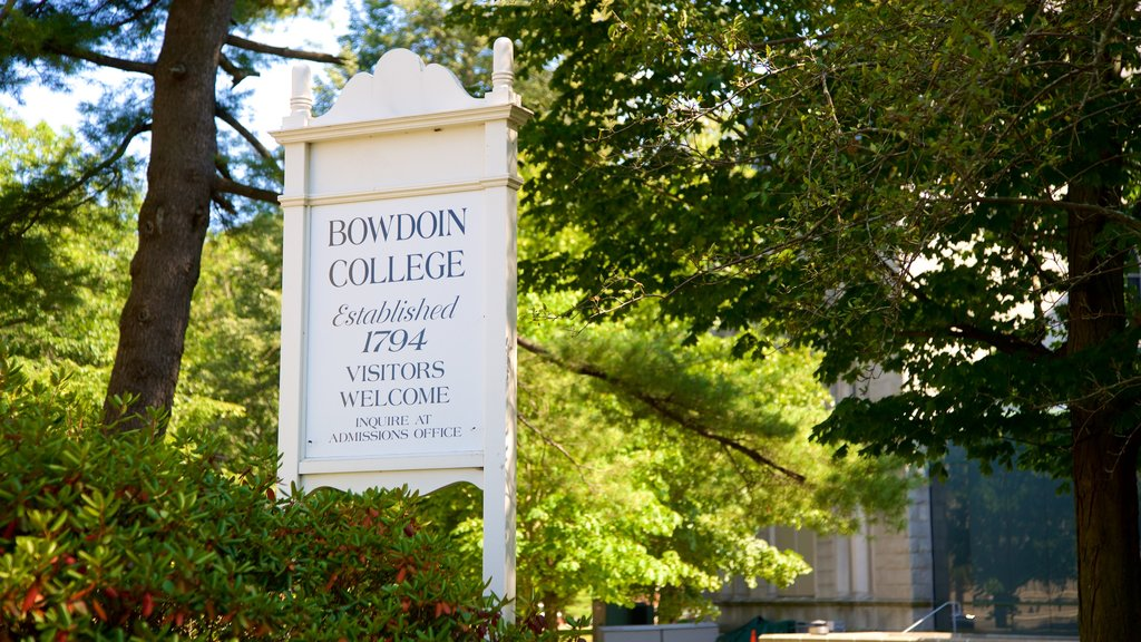 Bowdoin College showing signage
