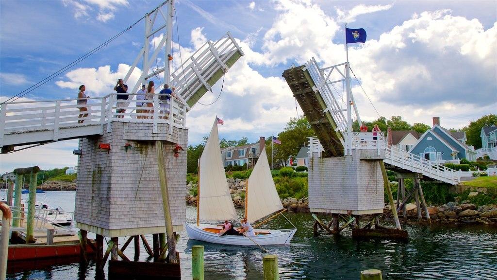 Perkins Cove showing a river or creek, a bridge and sailing