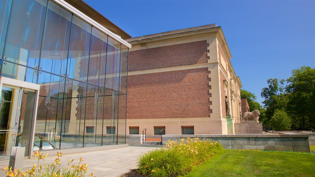 Bowdoin College Museum of Art showing modern architecture and wildflowers