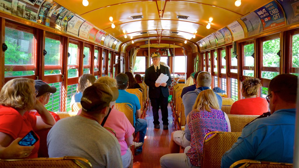 Seashore Trolley Museum which includes interior views and railway items as well as an individual male
