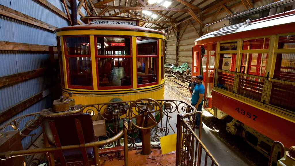 Seashore Trolley Museum featuring railway items, interior views and heritage elements