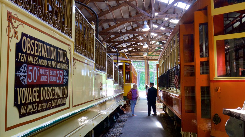 Seashore Trolley Museum which includes signage, railway items and interior views