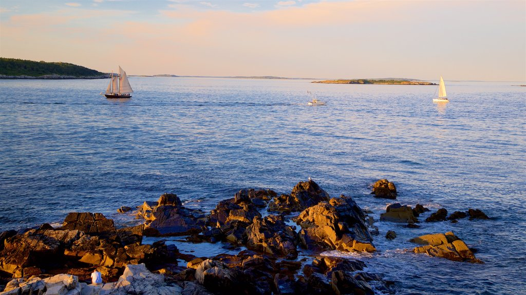 Fort Williams Park featuring general coastal views, sailing and a sunset