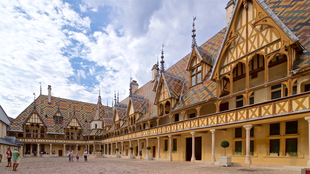 Hotel Dieu which includes heritage elements and a square or plaza