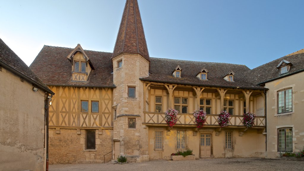 Burgundy Wine Museum which includes heritage architecture and flowers