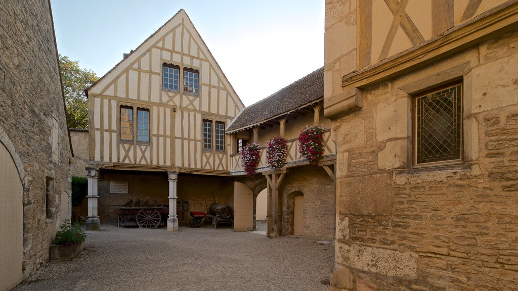 Burgundy Wine Museum showing heritage elements and flowers