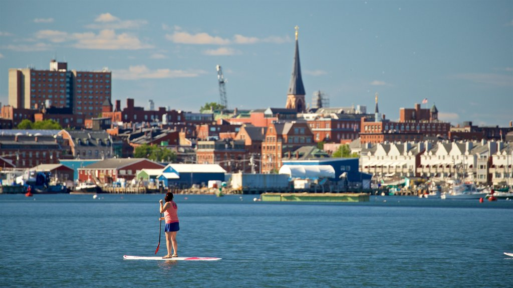 Portland featuring a bay or harbor, kayaking or canoeing and a coastal town