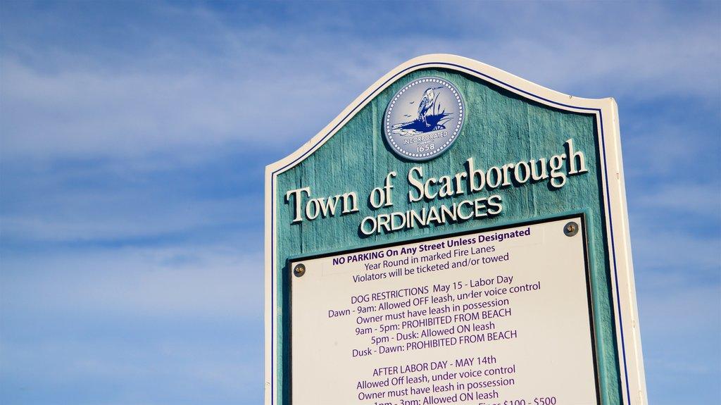 Higgins Beach showing signage