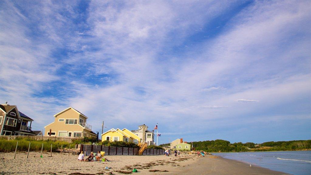 Higgins Beach featuring a coastal town, a beach and general coastal views