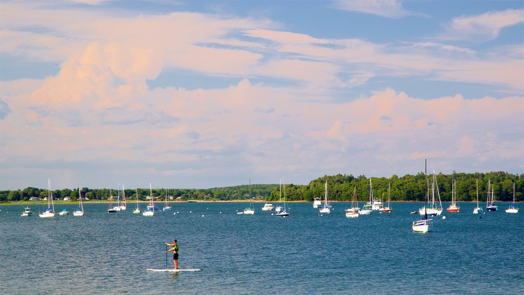 Eastern Promenade showing general coastal views, kayaking or canoeing and a bay or harbor