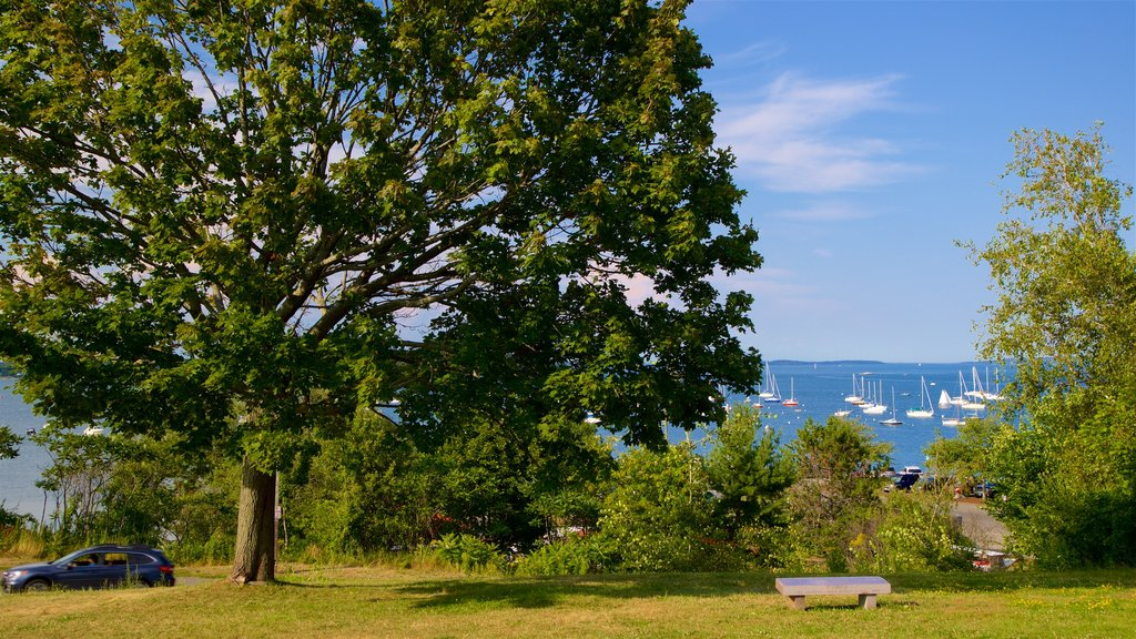 Eastern Promenade which includes a bay or harbor, a park and general coastal views