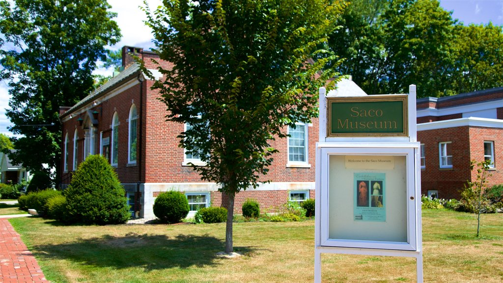 Saco Museum which includes signage and a small town or village