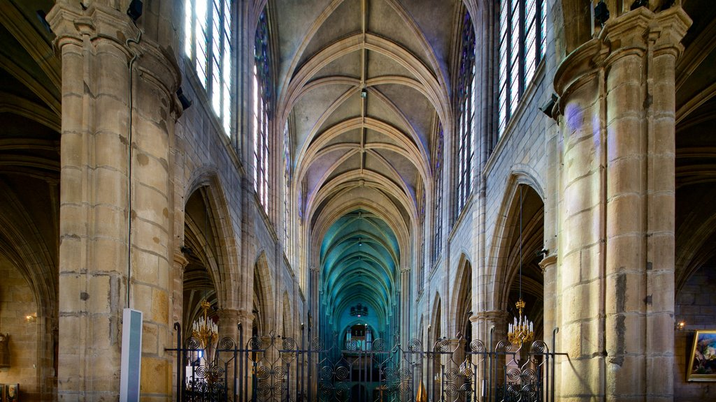 Moulins Cathedral featuring interior views, a church or cathedral and heritage elements