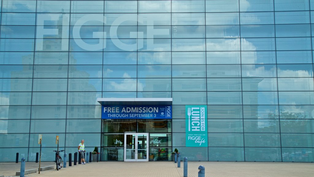 Figge Art Museum which includes signage and modern architecture