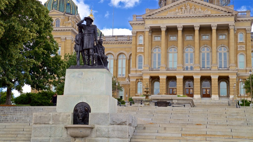 Iowa State Capitol Building featuring heritage architecture and a statue or sculpture