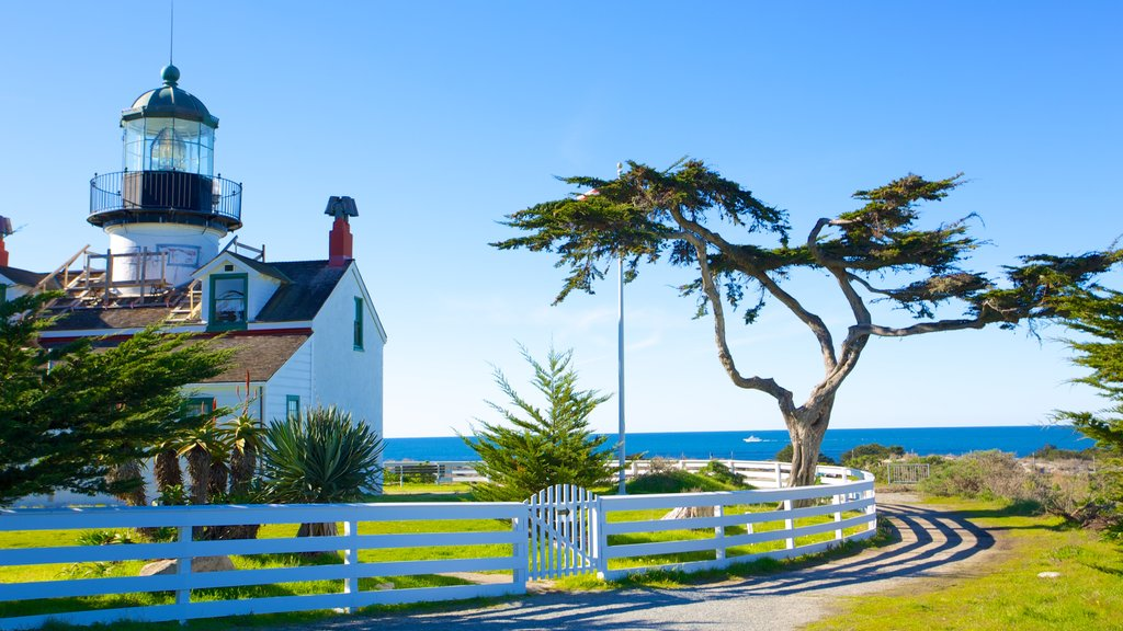Point Pinos Lighthouse featuring a lighthouse, general coastal views and heritage architecture