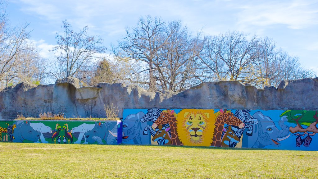 Maryland Zoo which includes autumn leaves, landscape views and outdoor art