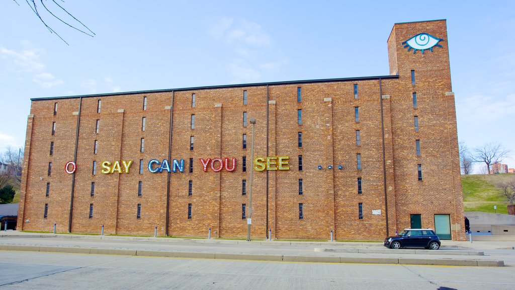 American Visionary Art Museum featuring signage and art