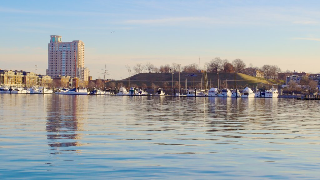 Baltimore Inner Harbor Marina which includes a high rise building, boating and landscape views
