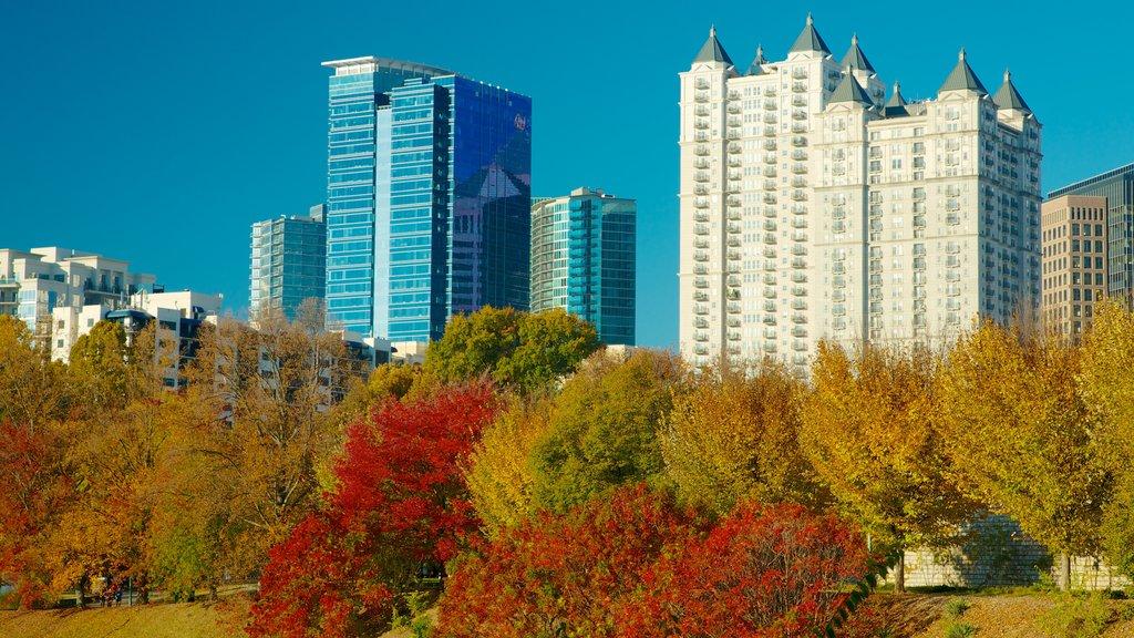 Piedmont Park mostrando un parque, una ciudad y un edificio de gran altura