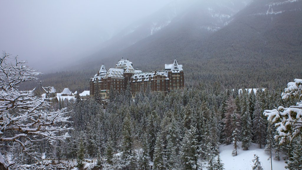 Banff National Park showing snow, mist or fog and landscape views