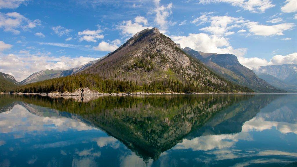 Lake Minnewanka showing mountains and landscape views