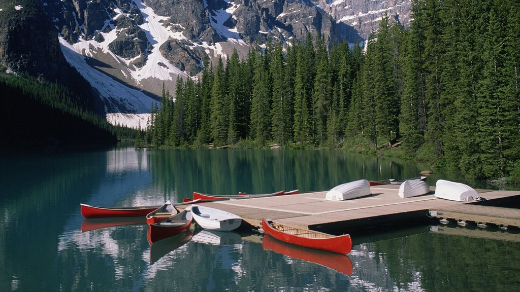 Banff National Park featuring landscape views, mountains and kayaking or canoeing
