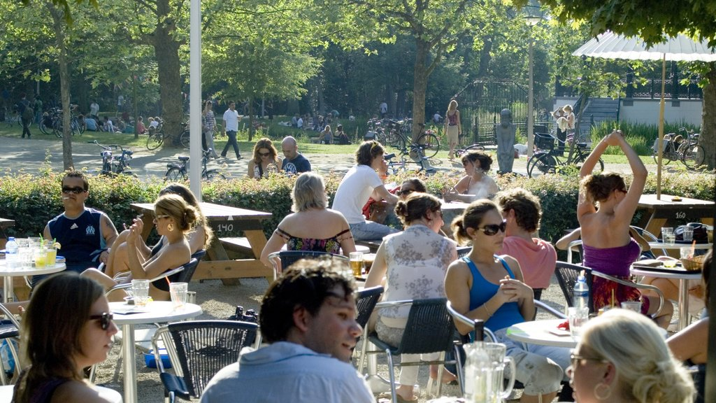 Vondelpark showing a garden, outdoor eating and drinks or beverages