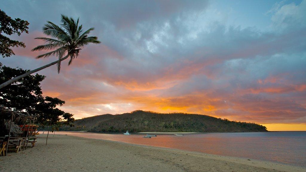 Nanuya Balavu Island showing island images, a sandy beach and a sunset