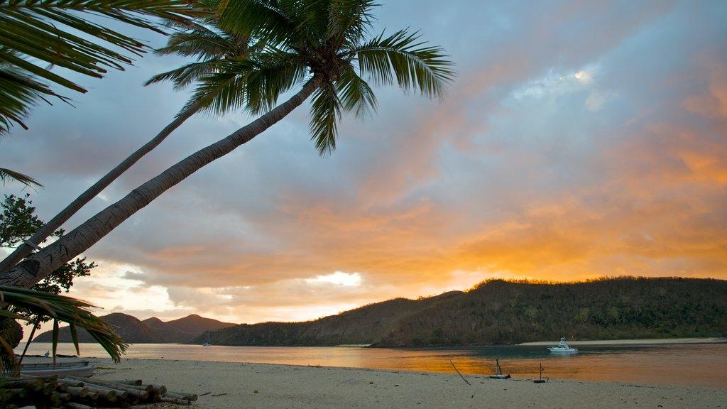 Nanuya Balavu Island which includes a sunset, tropical scenes and a beach