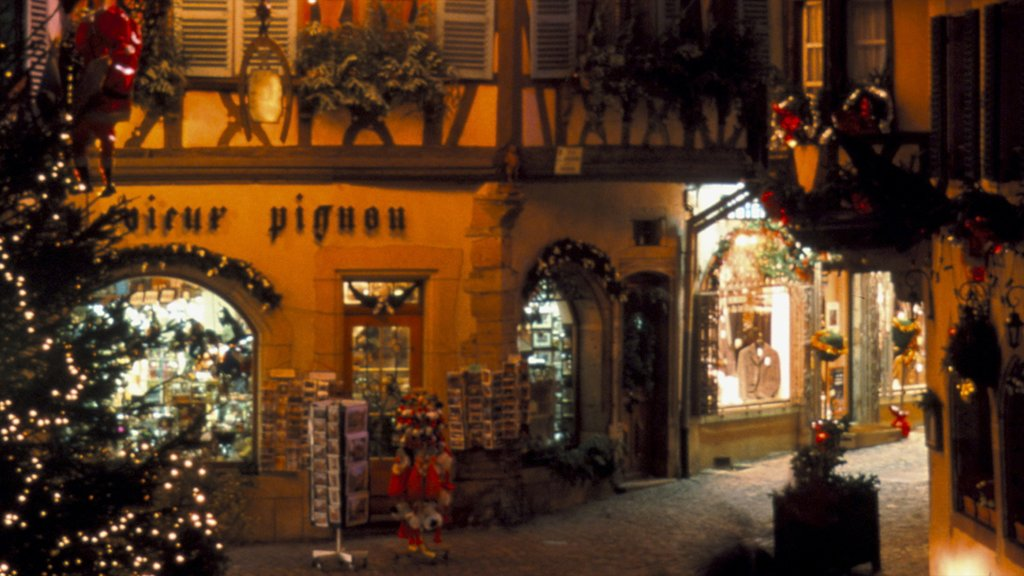 Colmar which includes street scenes and night scenes