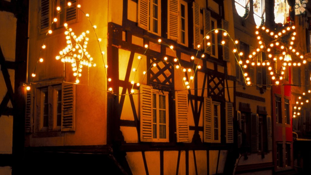 Colmar featuring a house, night scenes and heritage architecture