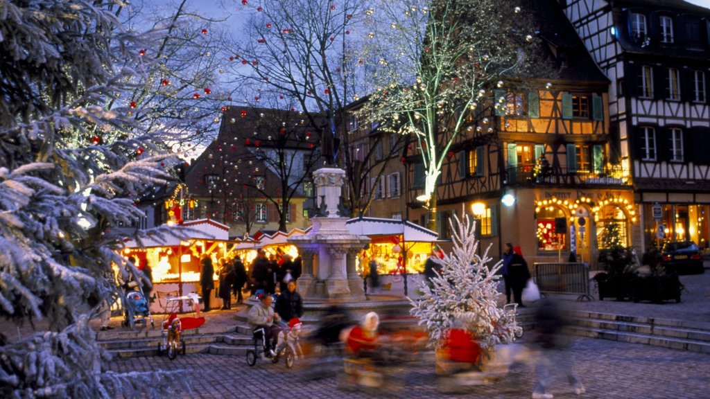 Colmar which includes snow, street scenes and night scenes