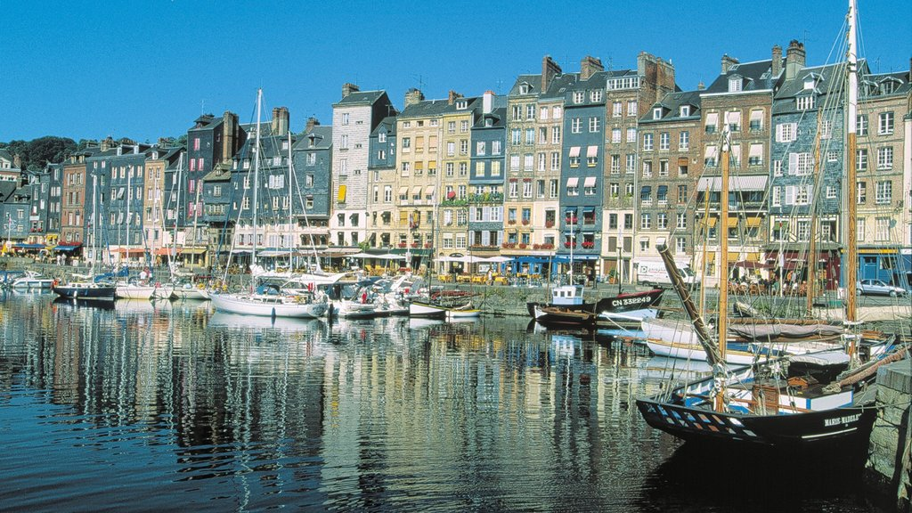 Honfleur showing a coastal town, a city and a bay or harbor