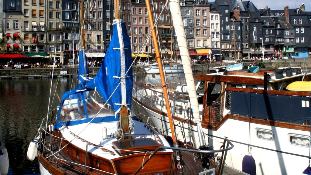 Honfleur which includes general coastal views, a bay or harbor and a marina