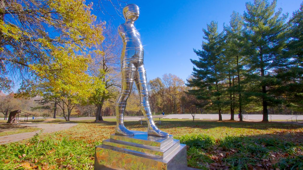 Laumeier Sculpture Park which includes a garden, a statue or sculpture and landscape views