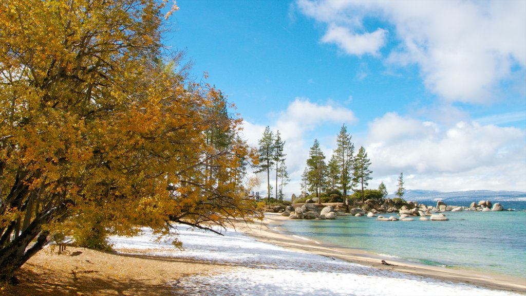 Sand Harbor of Lake Tahoe Nevada State Park which includes a beach and landscape views