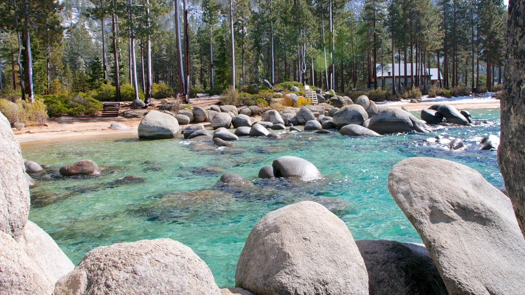 Sand Harbor of Lake Tahoe Nevada State Park which includes rugged coastline, forests and landscape views