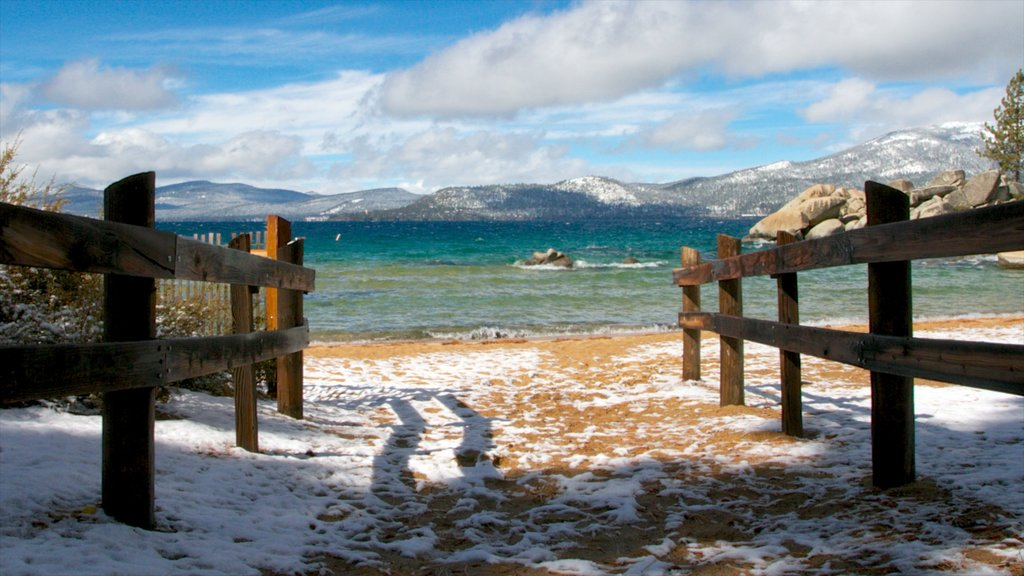 Sand Harbor of Lake Tahoe Nevada State Park which includes landscape views and a sandy beach
