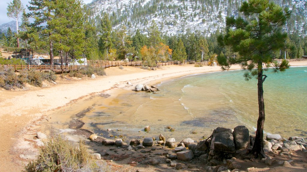 Sand Harbor of Lake Tahoe Nevada State Park featuring landscape views and a beach