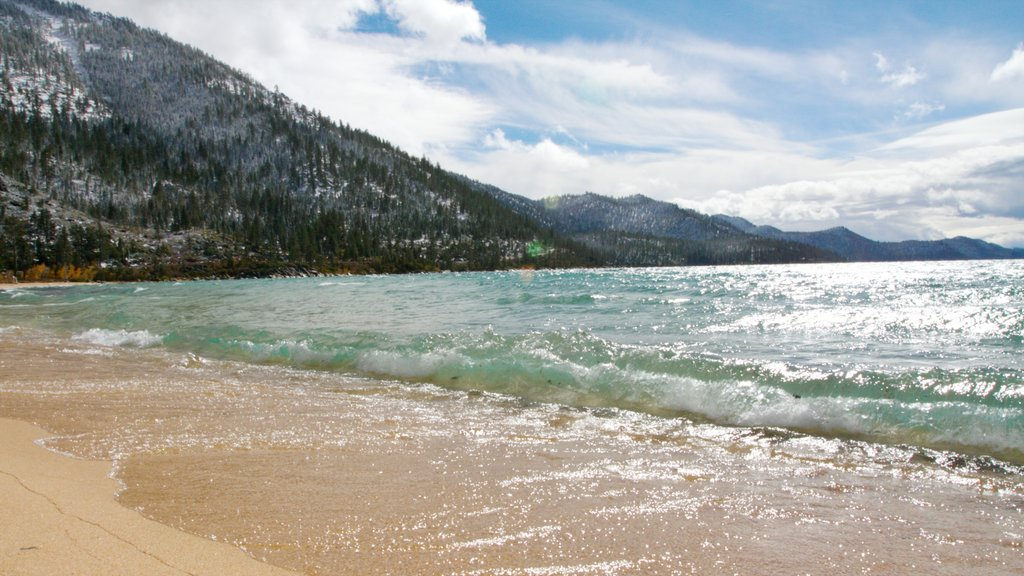 Sand Harbor of Lake Tahoe Nevada State Park showing landscape views and a sandy beach